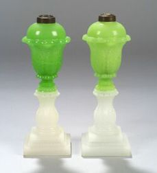 Two Green and Clambroth Pressed Glass Fluid Lamps